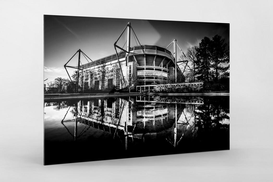 Blick auf den Signal Iduna Park (sw) als Direktdruck auf Alu-Dibond hinter Acrylglas