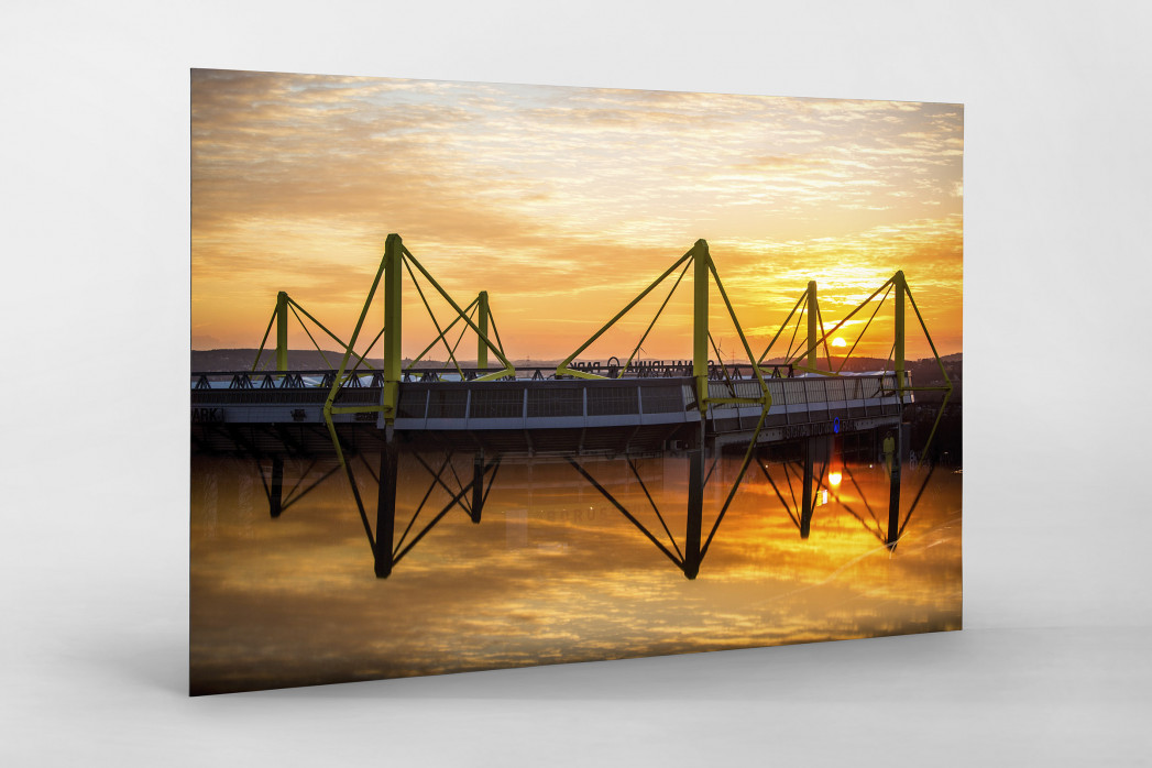 Signal Iduna Park bei Sonnenuntergang als auf Alu-Dibond kaschierter Fotoabzug
