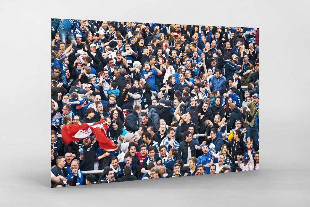 HSV Fans bei der Relegation nach dem Tor als auf Alu-Dibond kaschierter Fotoabzug