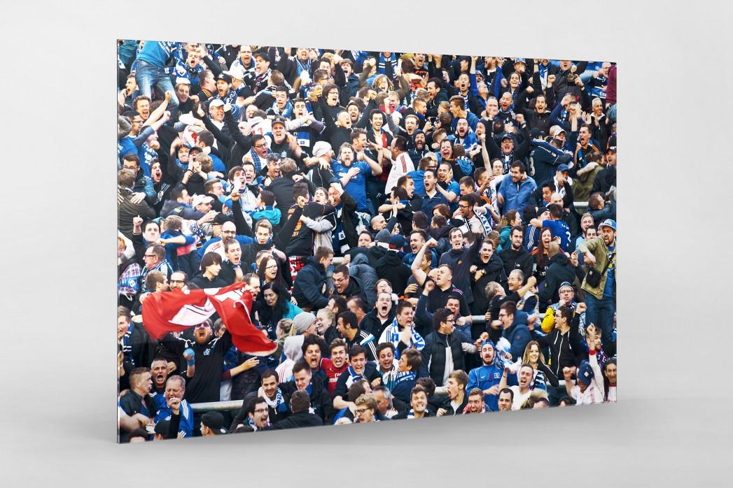 HSV Fans bei der Relegation nach dem Tor als Direktdruck auf Alu-Dibond hinter Acrylglas
