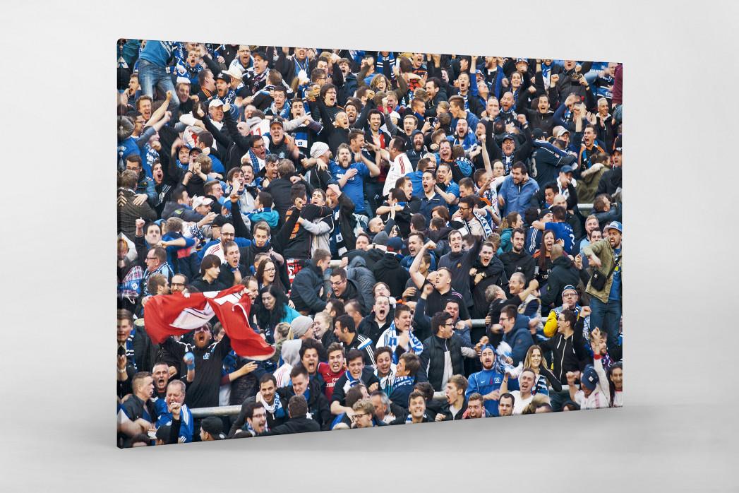 HSV Fans bei der Relegation nach dem Tor als Leinwand auf Keilrahmen gezogen