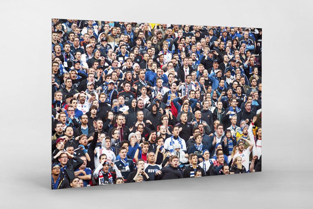 HSV Fans bei der Relegation vor dem Tor als auf Alu-Dibond kaschierter Fotoabzug
