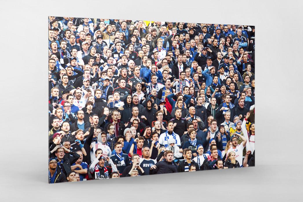 HSV Fans bei der Relegation vor dem Tor als Direktdruck auf Alu-Dibond hinter Acrylglas