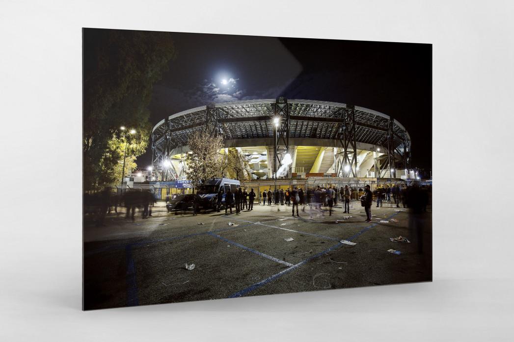 Stadio San Paolo bei Flutlicht (Farbe) als Direktdruck auf Alu-Dibond hinter Acrylglas