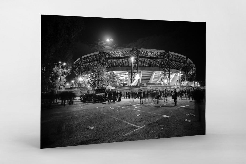 Stadio San Paolo bei Flutlicht (SW) als auf Alu-Dibond kaschierter Fotoabzug
