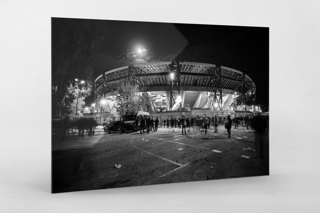Stadio San Paolo bei Flutlicht (SW) als Direktdruck auf Alu-Dibond hinter Acrylglas