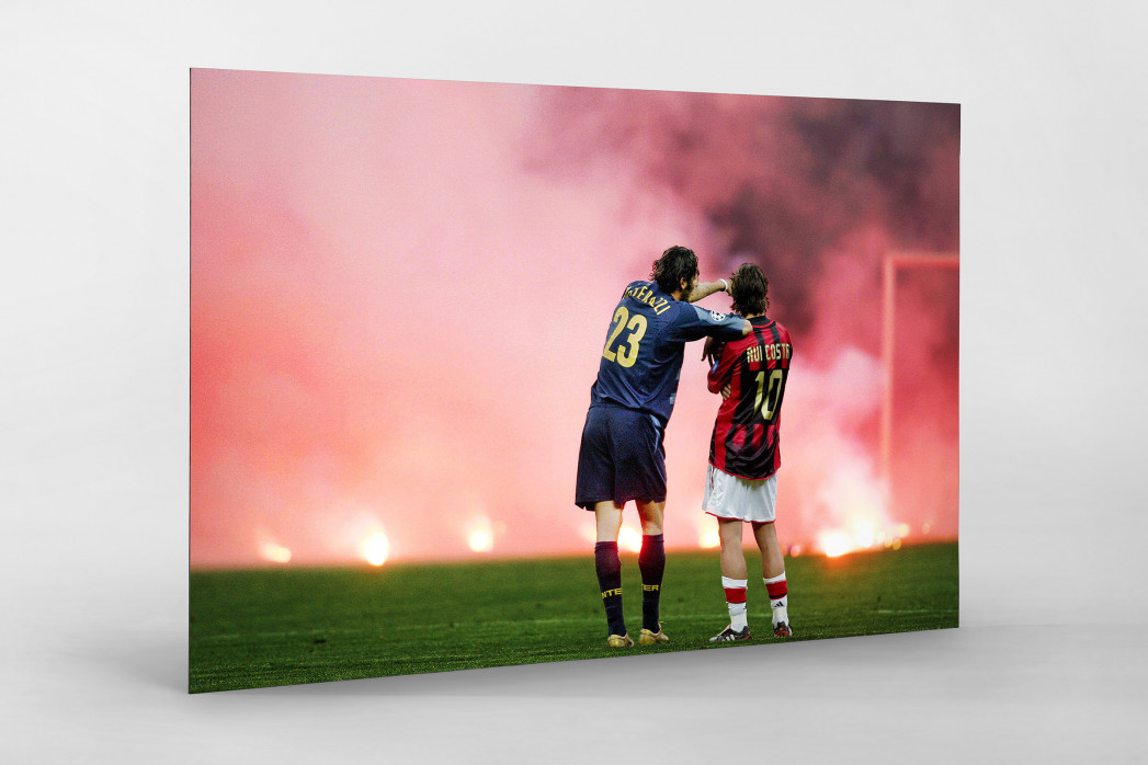 Materazzi, Rui Costa und der Rauch als auf Alu-Dibond kaschierter Fotoabzug