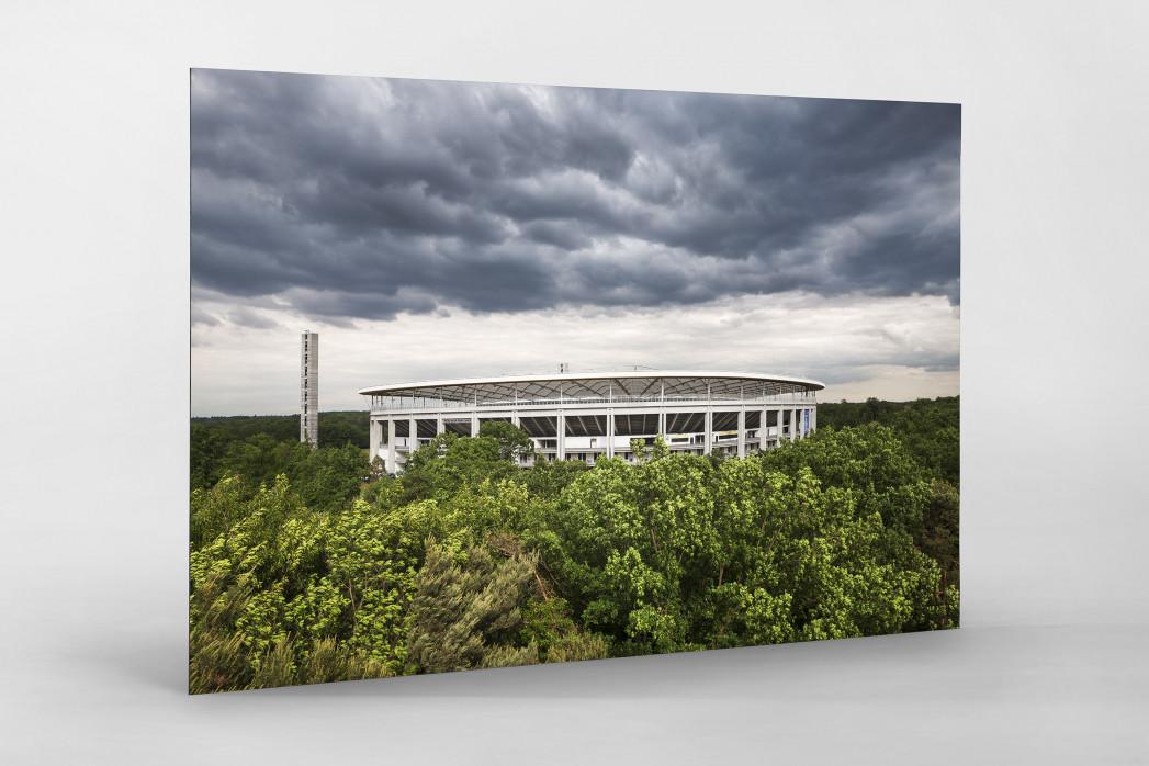 Blick auf die Frankfurter Arena als auf Alu-Dibond kaschierter Fotoabzug