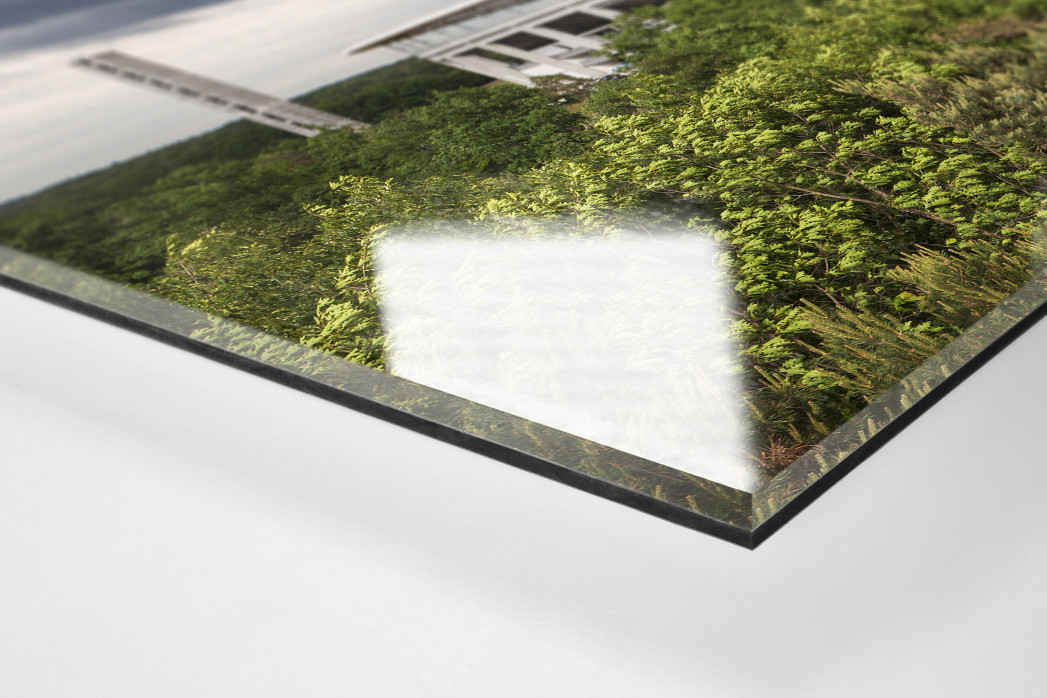 Blick auf die Frankfurter Arena als Direktdruck auf Alu-Dibond hinter Acrylglas (Detail)
