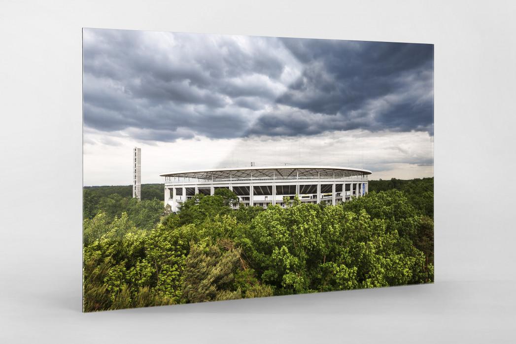 Blick auf die Frankfurter Arena als Direktdruck auf Alu-Dibond hinter Acrylglas