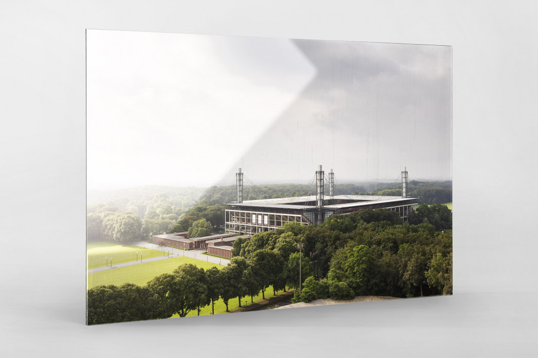 Blick auf die Kölner Arena als Direktdruck auf Alu-Dibond hinter Acrylglas