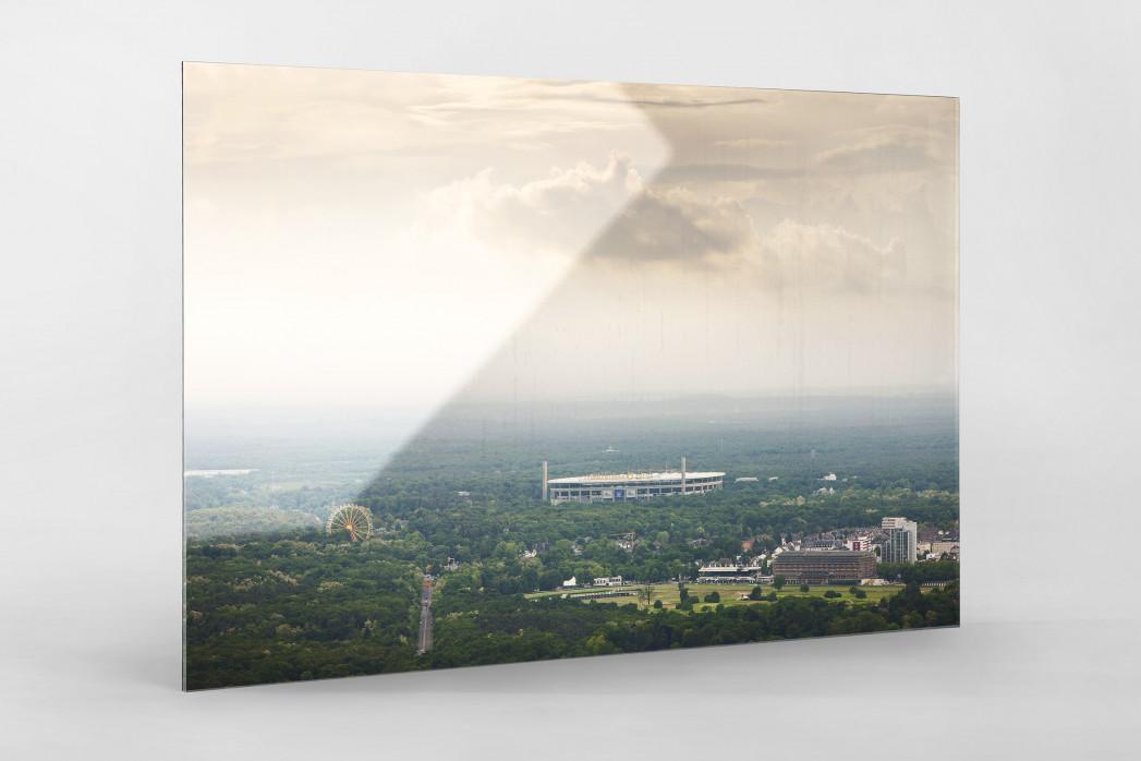 Frankfurter Arena im Stadtbild als Direktdruck auf Alu-Dibond hinter Acrylglas
