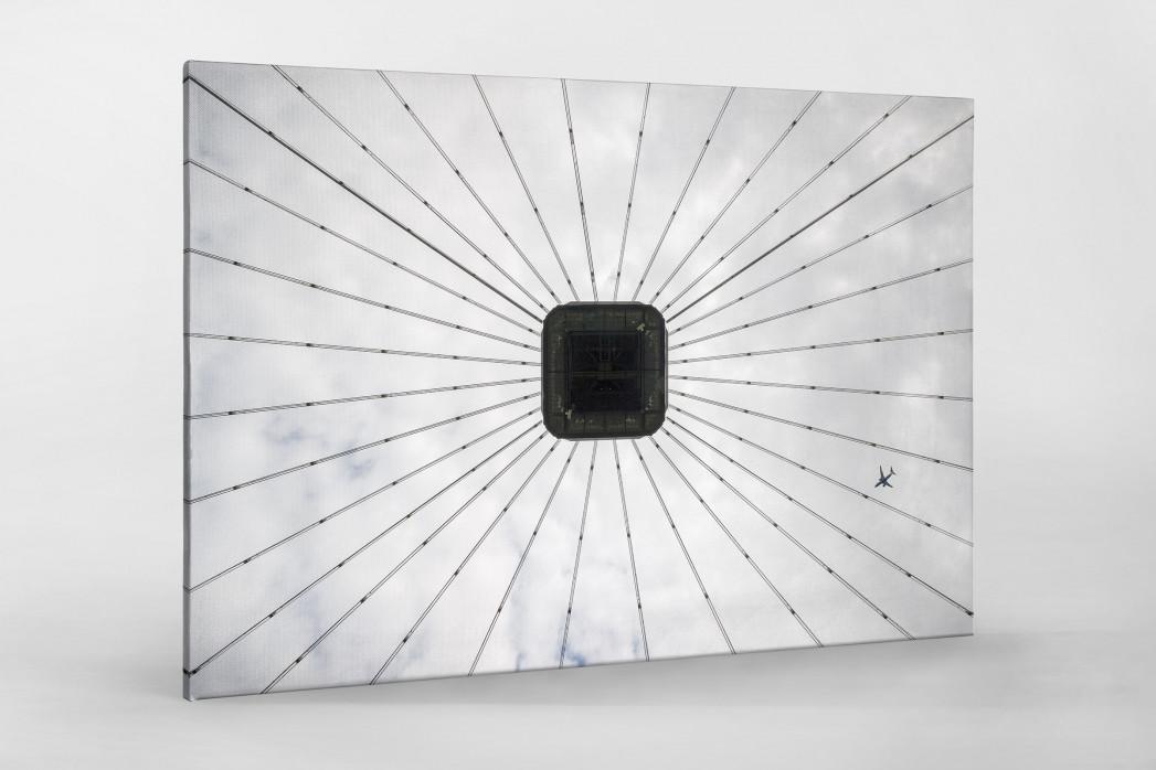 Frankfurter Videowürfel als Leinwand auf Keilrahmen gezogen