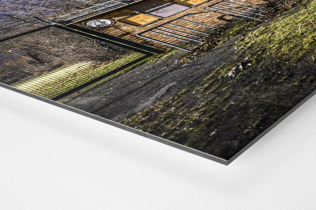 Kartenhäuschen Mommsenstadion als auf Alu-Dibond kaschierter Fotoabzug (Detail)