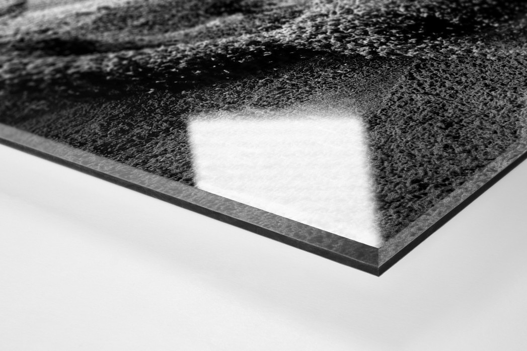 Weitsprung in Schwarzweiss als Direktdruck auf Alu-Dibond hinter Acrylglas (Detail)