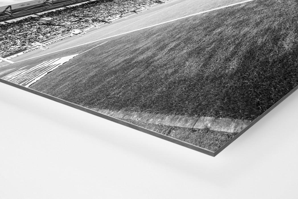 Eckball Millerntor in Schwarzweiß als auf Alu-Dibond kaschierter Fotoabzug (Detail)