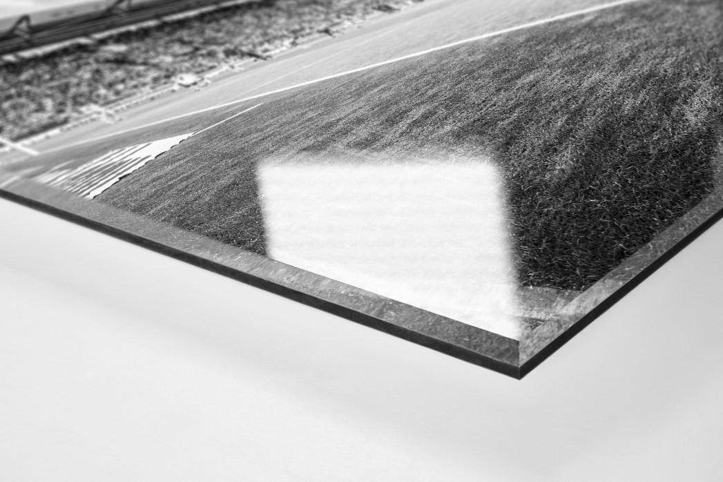 Eckball Millerntor in Schwarzweiß als Direktdruck auf Alu-Dibond hinter Acrylglas (Detail)