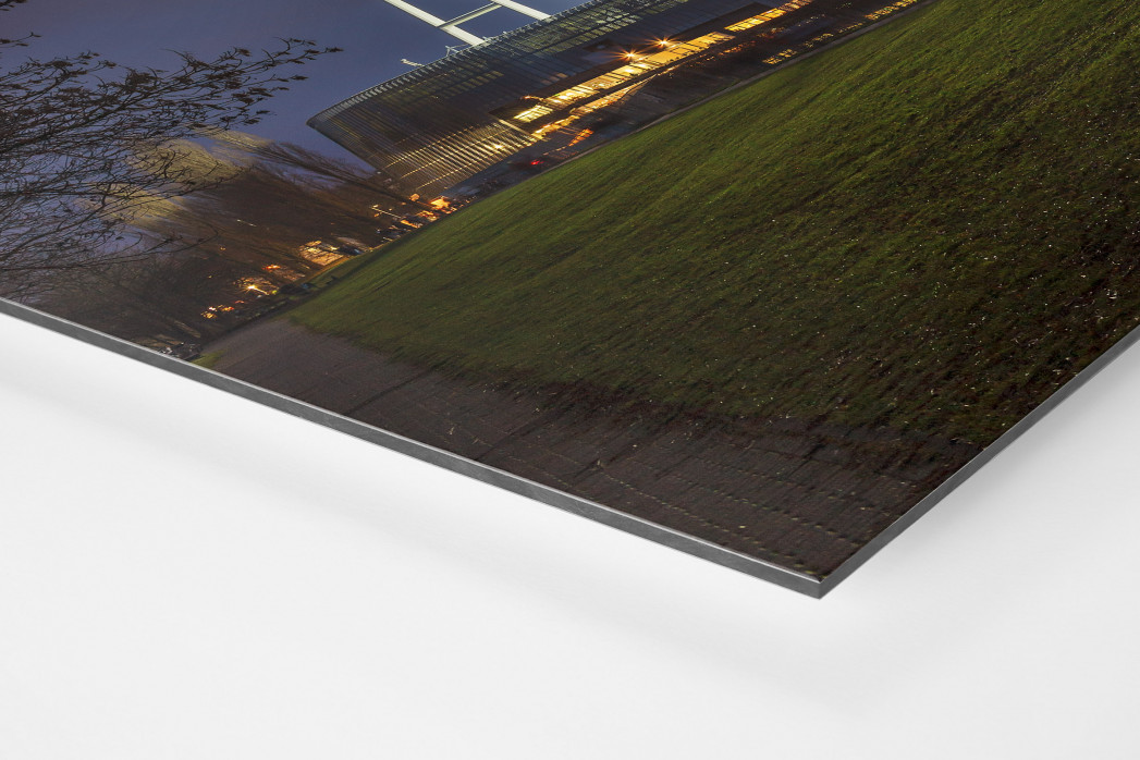 Weserstadion bei Flutlicht (Farbe-Querformat-1) als auf Alu-Dibond kaschierter Fotoabzug (Detail)