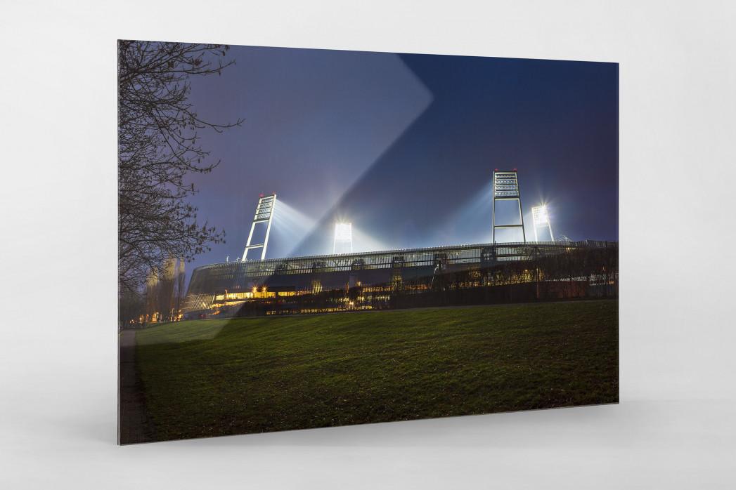 Weserstadion bei Flutlicht (Farbe-Querformat-1) als Direktdruck auf Alu-Dibond hinter Acrylglas