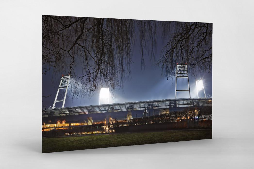 Weserstadion bei Flutlicht (Farbe-Querformat-2) als auf Alu-Dibond kaschierter Fotoabzug