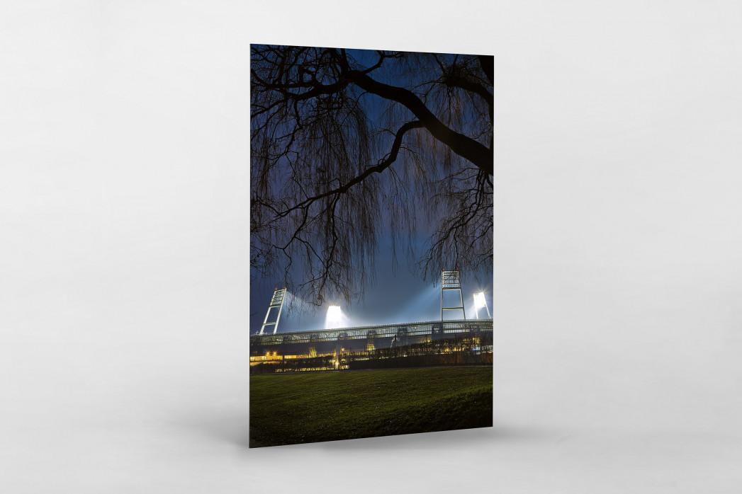 Weserstadion bei Flutlicht (Farbe-Hochformat) als auf Alu-Dibond kaschierter Fotoabzug