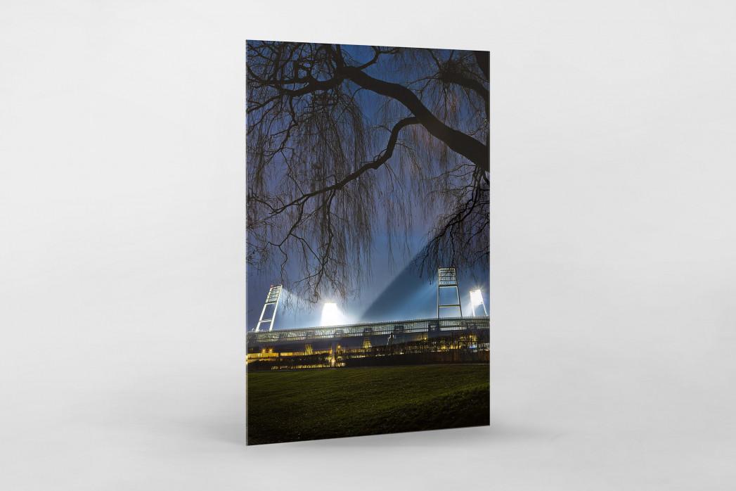 Weserstadion bei Flutlicht (Farbe-Hochformat) als Direktdruck auf Alu-Dibond hinter Acrylglas