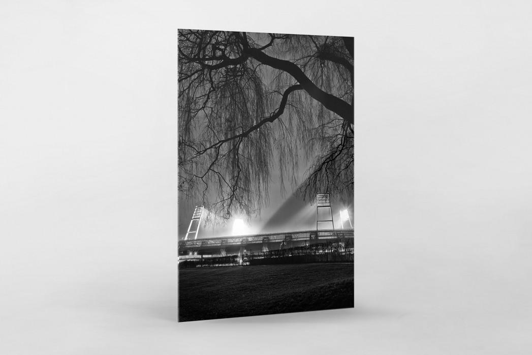 Weserstadion bei Flutlicht (Schwarzweiß-Hochformat) als Direktdruck auf Alu-Dibond hinter Acrylglas
