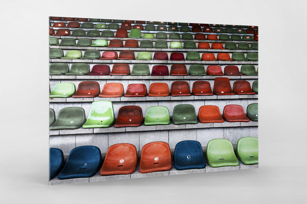 Schalensitze im Niederrheinstadion als Direktdruck auf Alu-Dibond hinter Acrylglas