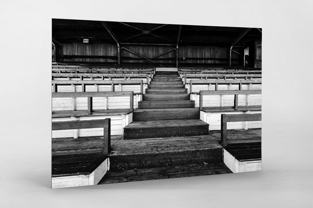 Tribüne Rudolf-Kalweit-Stadion (Schwarzweiß) als auf Alu-Dibond kaschierter Fotoabzug