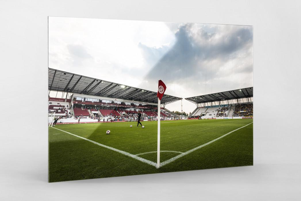 Eckfahne Stadion Essen als Direktdruck auf Alu-Dibond hinter Acrylglas