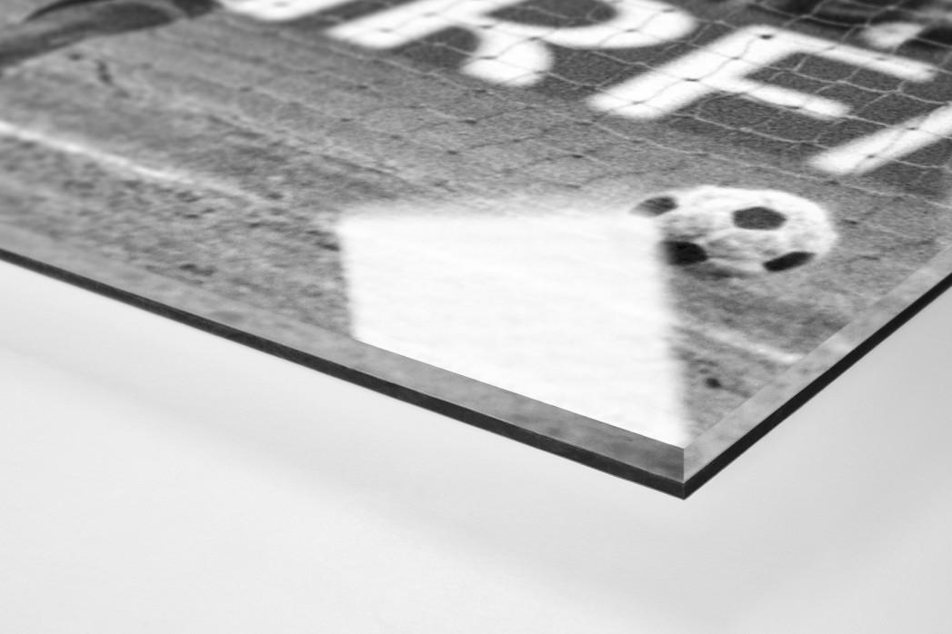Torjubel Müller als Direktdruck auf Alu-Dibond hinter Acrylglas (Detail)