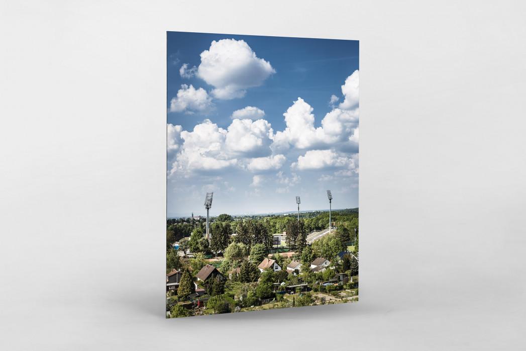 Darmstadt - Stadt und Stadion (hoch) als auf Alu-Dibond kaschierter Fotoabzug