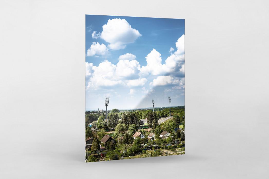 Darmstadt - Stadt und Stadion (hoch) als Direktdruck auf Alu-Dibond hinter Acrylglas