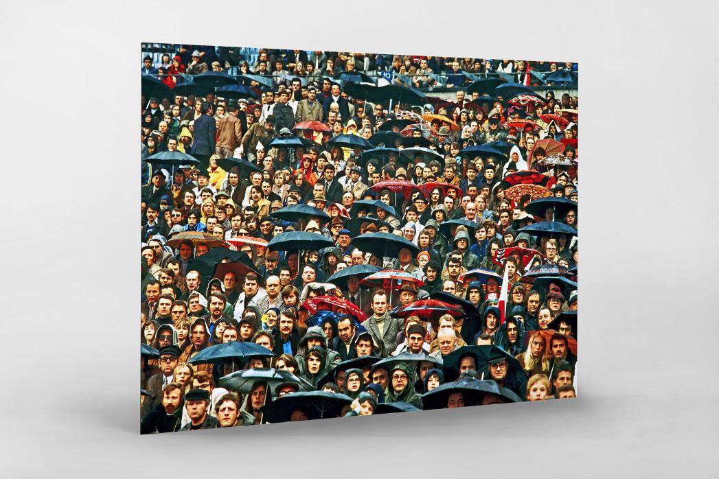 Zuschauer und Regenschirme als auf Alu-Dibond kaschierter Fotoabzug