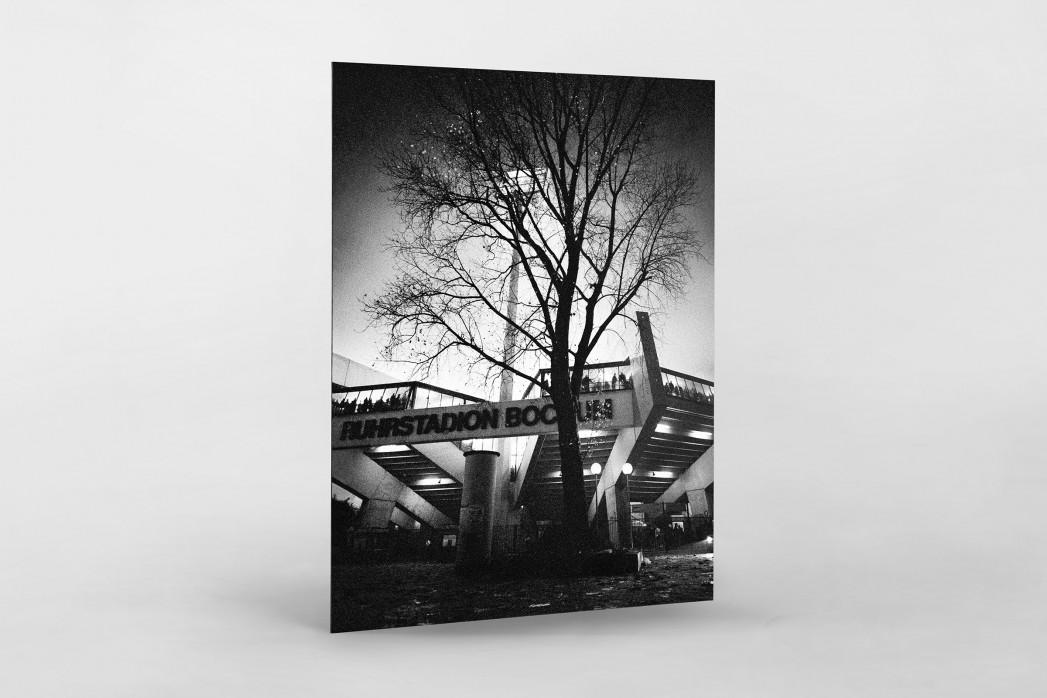 Ruhrstadion bei Flutlicht (SW) als auf Alu-Dibond kaschierter Fotoabzug