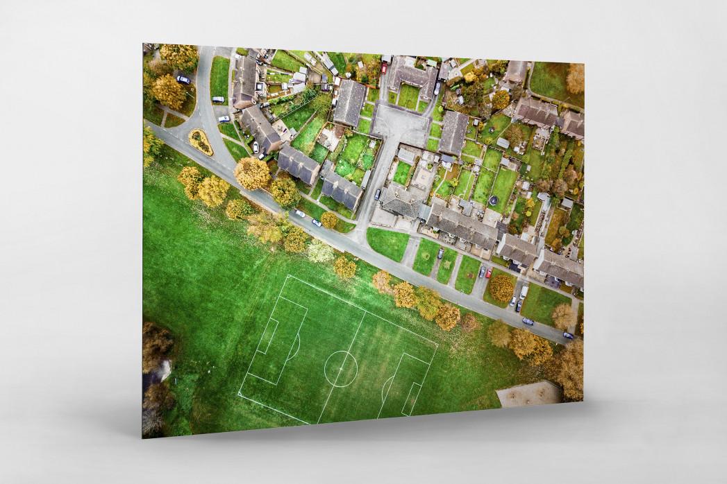 Fußballplatz in Shrewsbury als auf Alu-Dibond kaschierter Fotoabzug