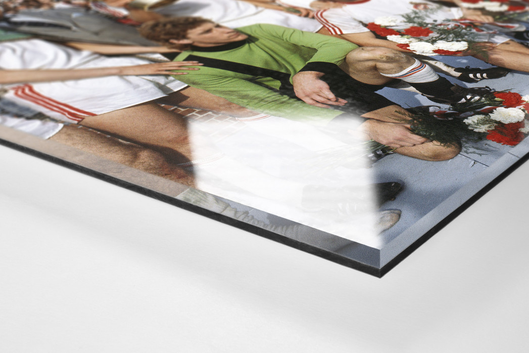 Kölner Pokaljubel als Direktdruck auf Alu-Dibond hinter Acrylglas (Detail)