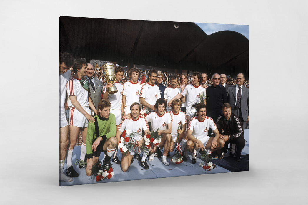 Kölner Pokaljubel als Leinwand auf Keilrahmen gezogen