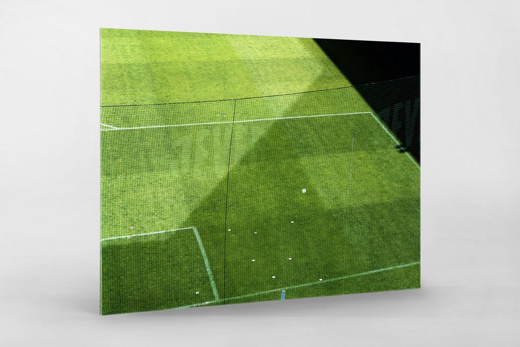Spielfeldausschnitt Bökelberg als Direktdruck auf Alu-Dibond hinter Acrylglas