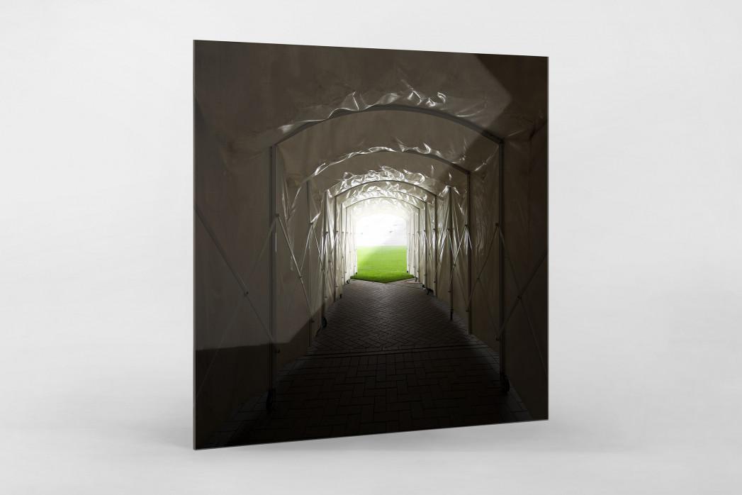 Spielertunnel Millerntor als Direktdruck auf Alu-Dibond hinter Acrylglas