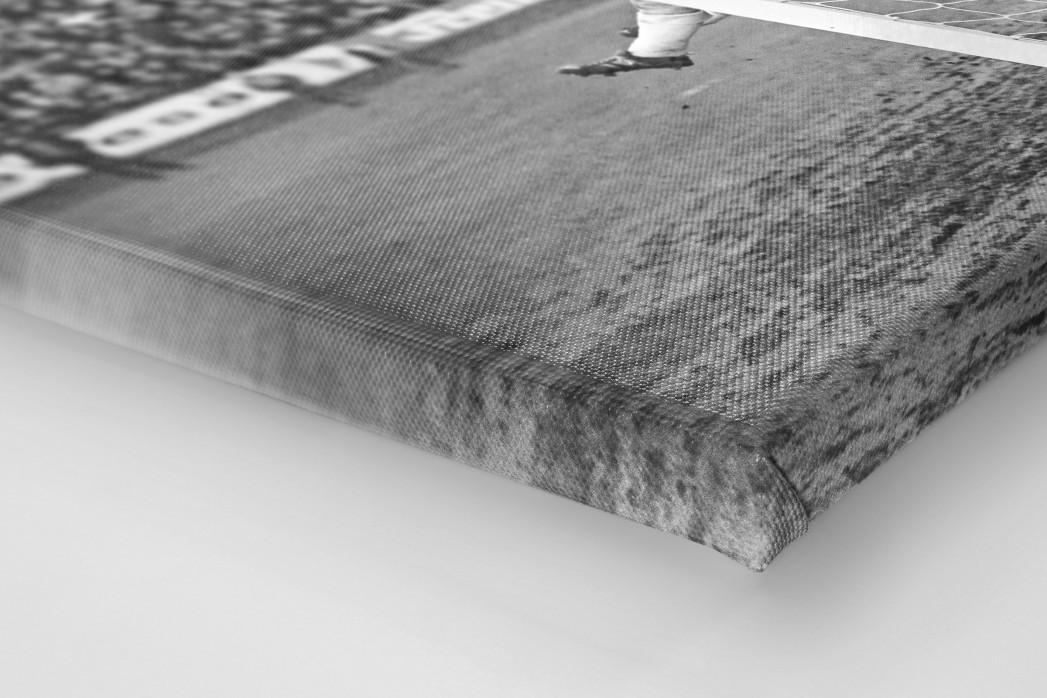 Unter die Latte als Leinwand auf Keilrahmen gezogen (Detail)