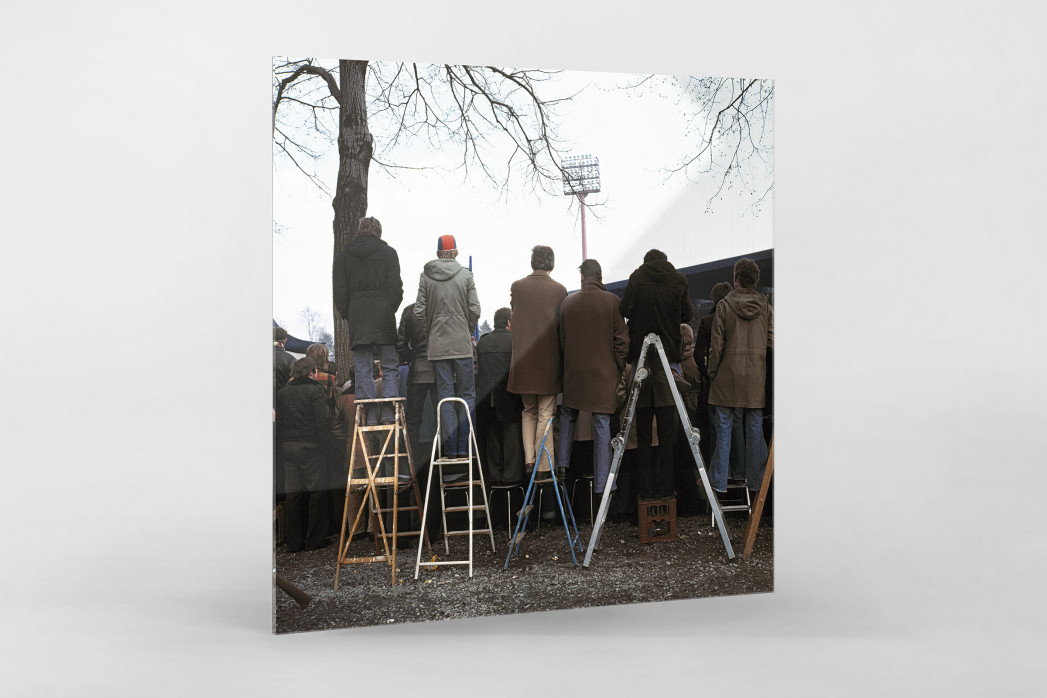 Fans auf der Leiter (2) als Direktdruck auf Alu-Dibond hinter Acrylglas