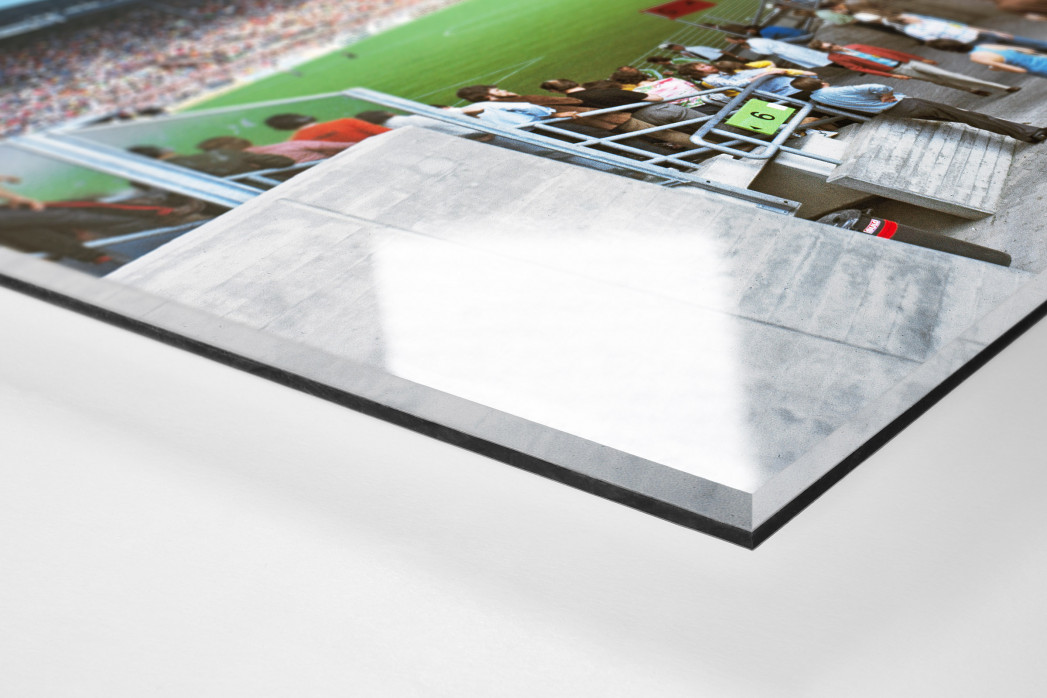 Westfalenstadion 1974 als Direktdruck auf Alu-Dibond hinter Acrylglas (Detail)