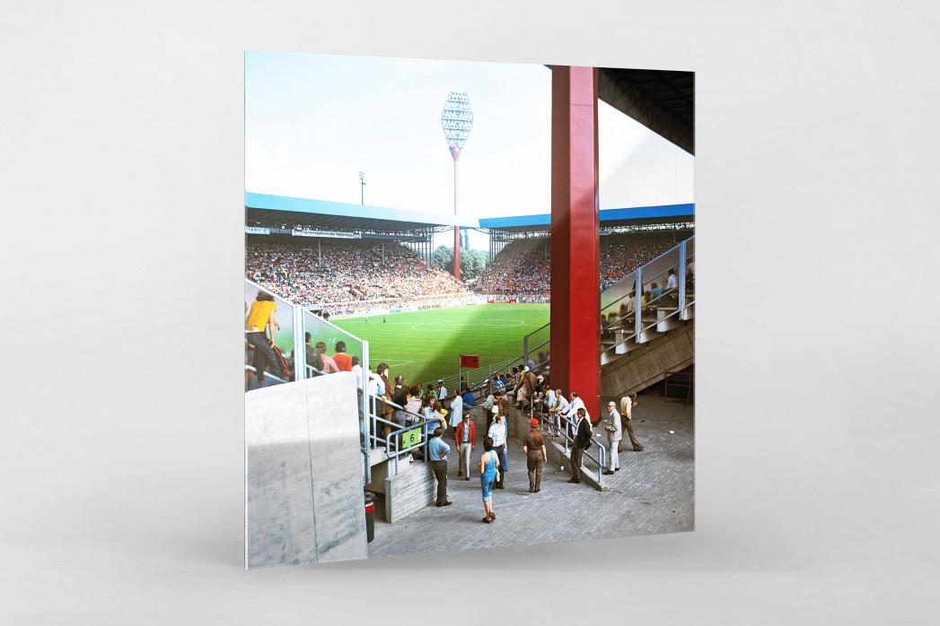 Westfalenstadion 1974 als Direktdruck auf Alu-Dibond hinter Acrylglas