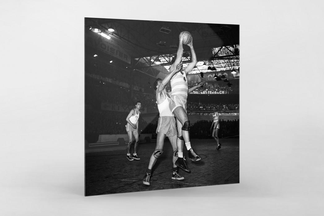 Basketball in Paris als Direktdruck auf Alu-Dibond hinter Acrylglas
