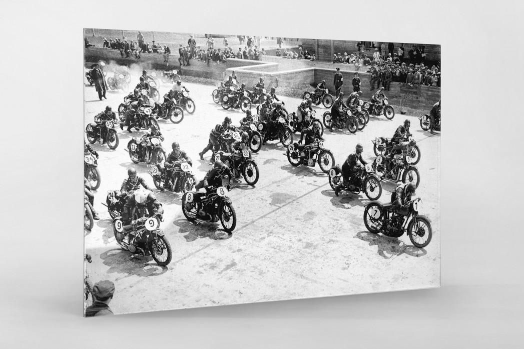 Motorradrennen 1930 als Direktdruck auf Alu-Dibond hinter Acrylglas