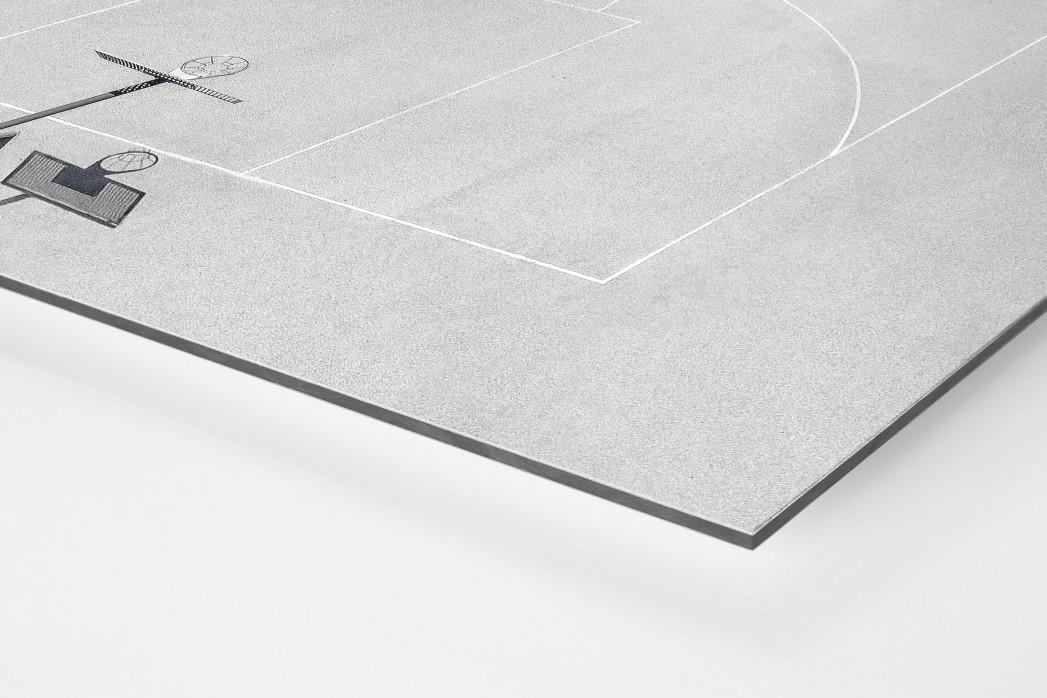Basketballplatz aus der Vogelperspektive als auf Alu-Dibond kaschierter Fotoabzug (Detail)