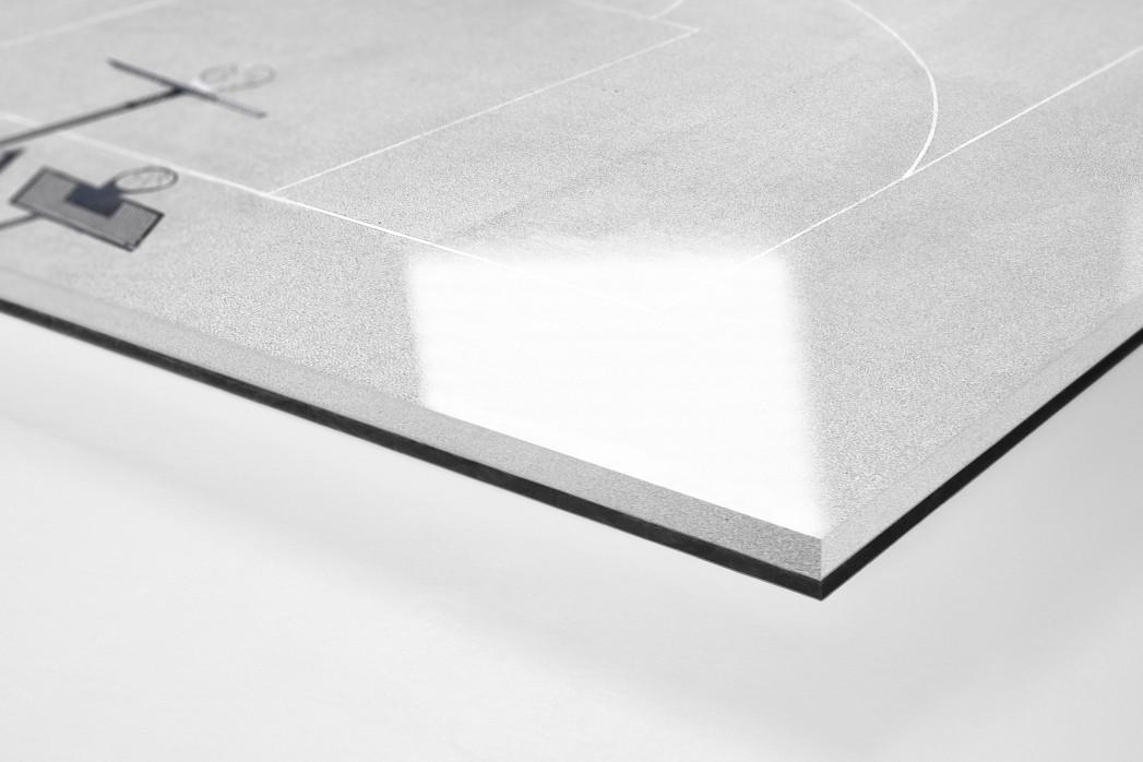 Basketballplatz aus der Vogelperspektive als Direktdruck auf Alu-Dibond hinter Acrylglas (Detail)