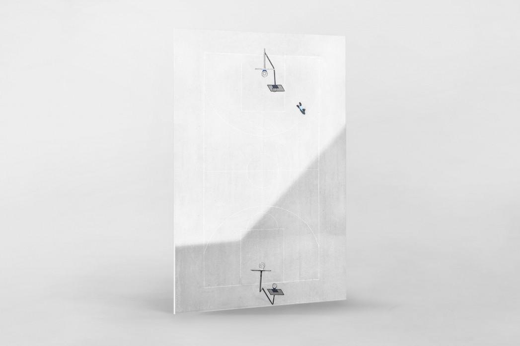 Basketballplatz aus der Vogelperspektive als Direktdruck auf Alu-Dibond hinter Acrylglas