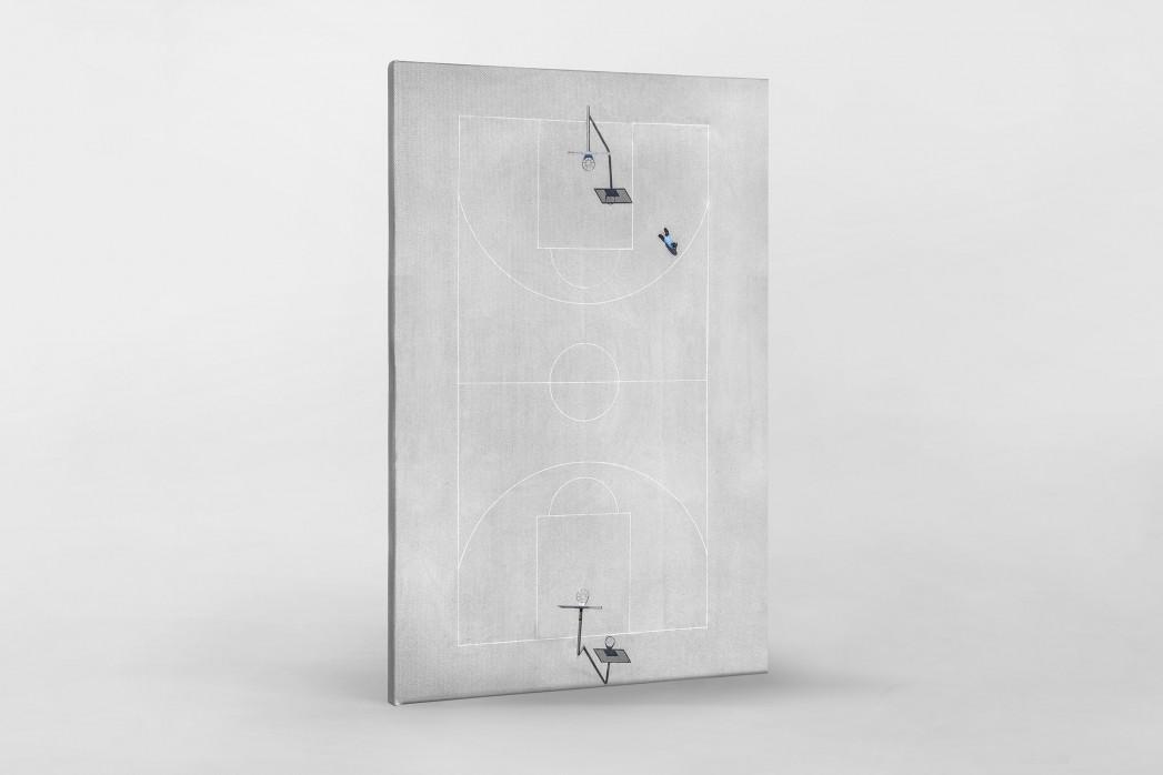 Basketballplatz aus der Vogelperspektive als Leinwand auf Keilrahmen gezogen